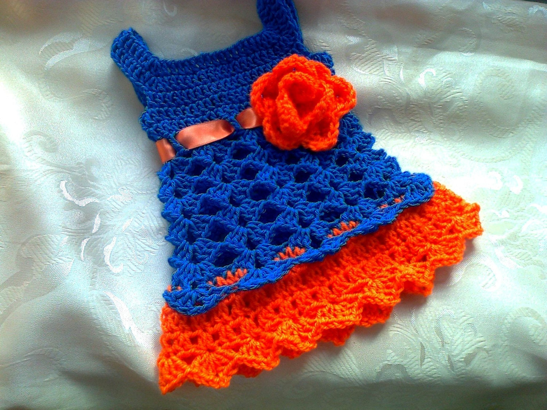 c03f362b33580 Florida Gator baby dress , Blue and orange crochet baby dress , newborn  dress , first outfit , college football baby clothes newborn baby d