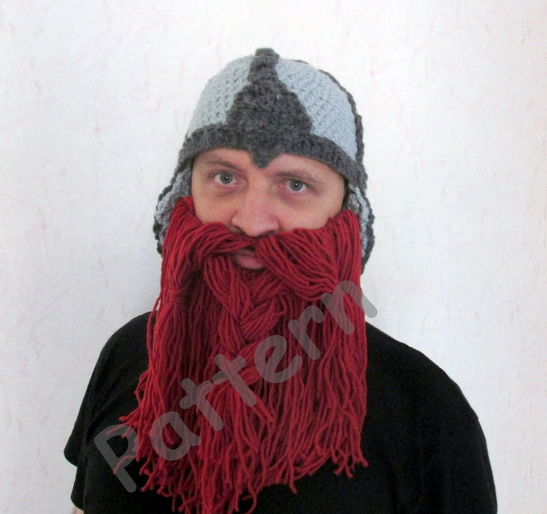 Crochet Viking hat pattern Crochet Beard hat Pattern adult  67631c782cc