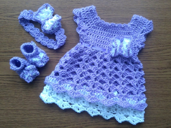 Purple Baby Girl Coming Home Outfit Crochet baby Girl | Etsy