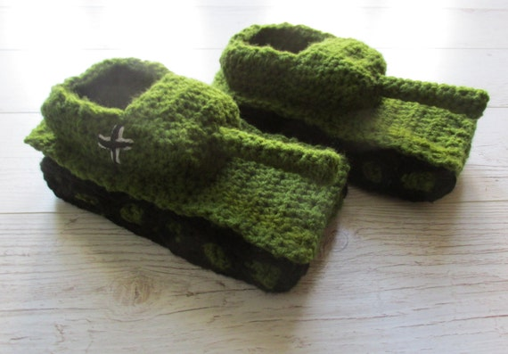 Crochet Tank Slippers Father Gift Valentines Gift Crochet Etsy