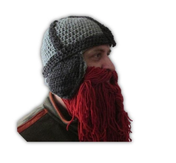 Crochet Viking Hat boyfriend gift viking beard hat dwarf  8bac907895a