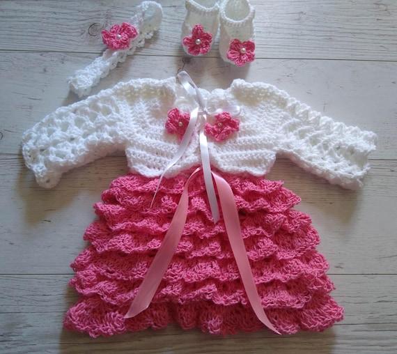 Häkeln Baby Kleid in weiß und Fuchsia passende Bolero | Etsy
