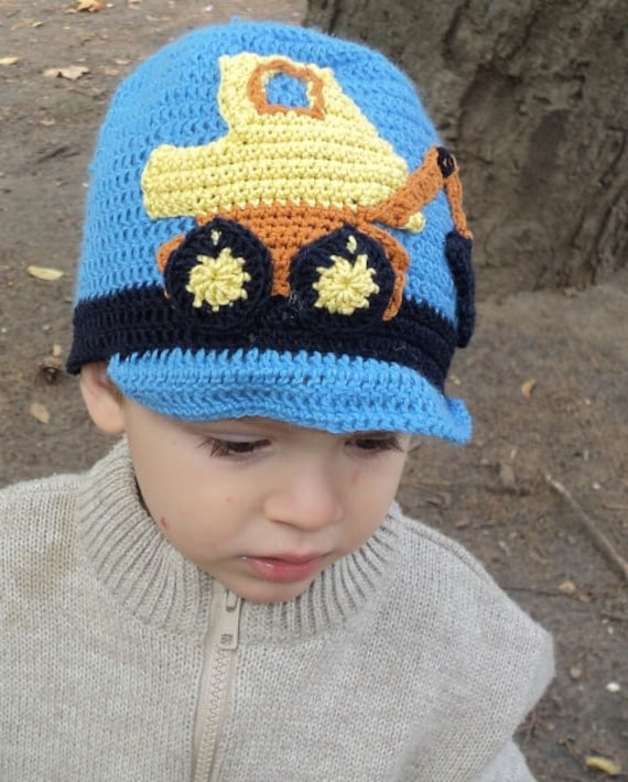 Häkeln Sie Bagger Hut Baby Jungen Mütze Bagger Beanie Mütze Etsy