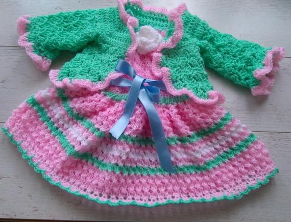 Pasgeboren Meisje Komt Thuis Outfit Baby Cardigan En Jurk Etsy