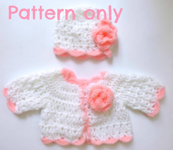 Baby Cardigan And Hat Crochet Pattern 5 Size Hat Pattern Etsy