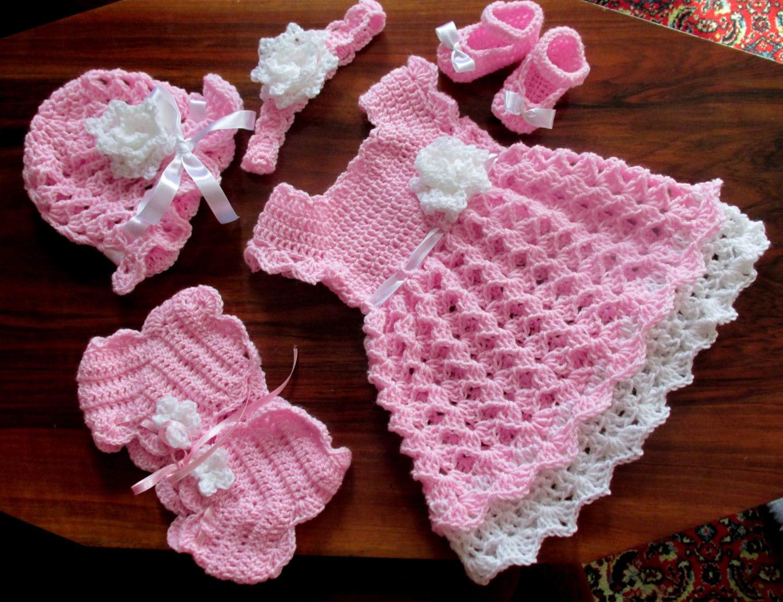 6655c1f81 Crochet bebé vestido del bebé bolero sombrero zapatos y