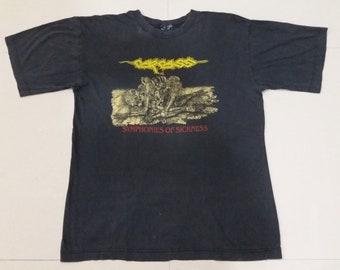 Vintage 1990 CARCASS Symphonies of Sickness Tour Concert Tour Napalm Death  promo L Size rare T-shirt 535721b94e90