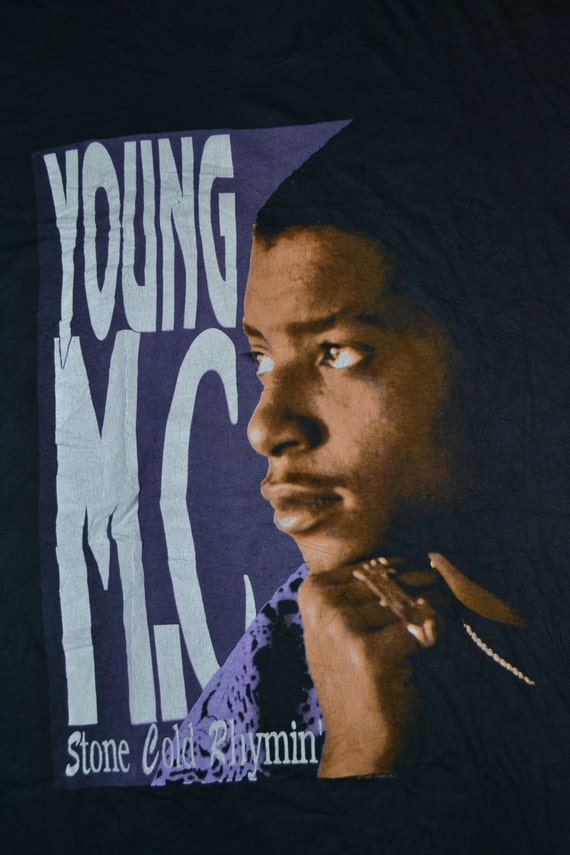 Rhymin MC Hop album Concert Tour Stone YOUNG Vintage 1990 Hip Promo shirt T rare very Cold 0XqREx