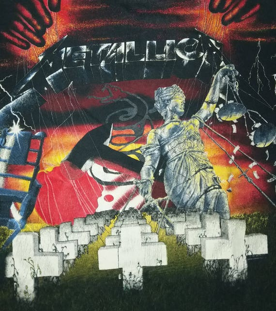 promo Concert shirt print METALLICA T 1991 all Pushead over Tour Vintage 90s rare 7EqTI7