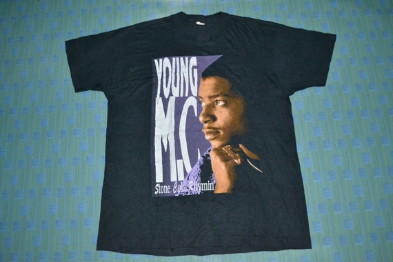 very 1990 Vintage album T YOUNG shirt Concert rare Hop Hip Rhymin Promo MC Stone Cold Tour 7FFdf4x