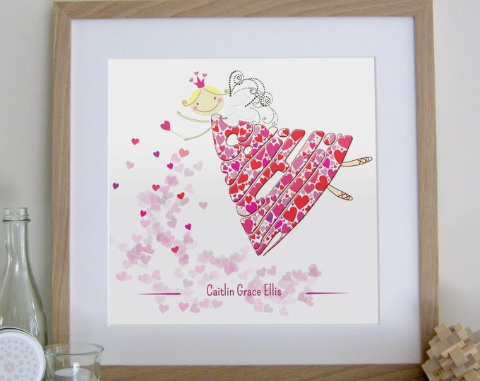 Personalised Girls Red and Pink Love Fairy Print