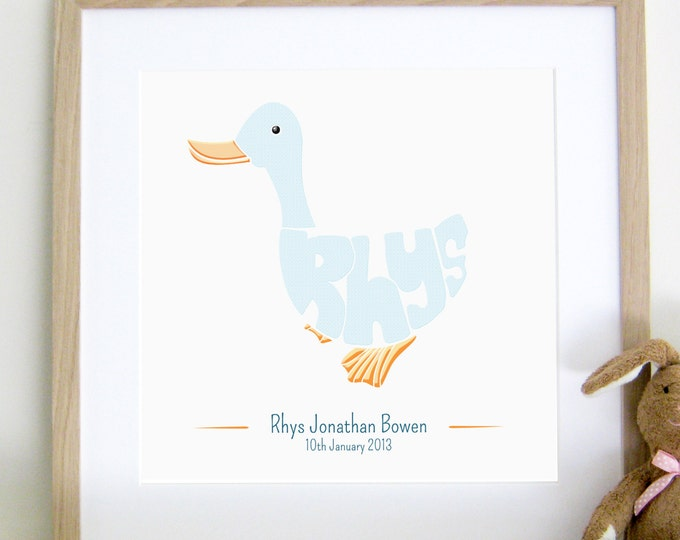 Boys Personalised Farmyard Duck Print - Birth, Christening, Baptism