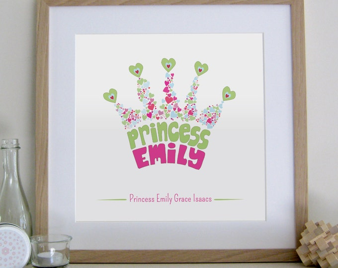 Personalised Princess Crown Print