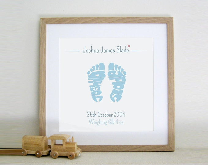 Boys Personalised Footprint Print - Birth, Christening, Baptism