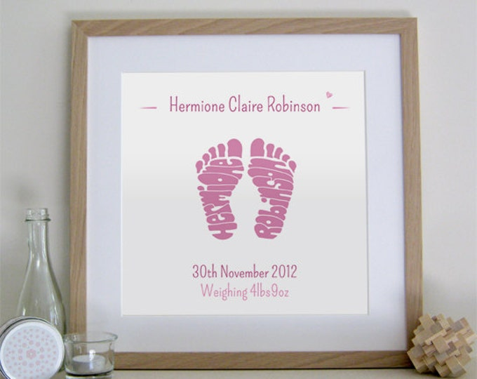Girls Personalised Footprint Print - Birth, Christening, Baptism