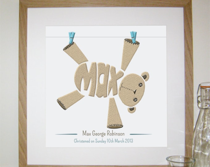 Boys Personalised Teddy Print - Birth, Christening, Baptism