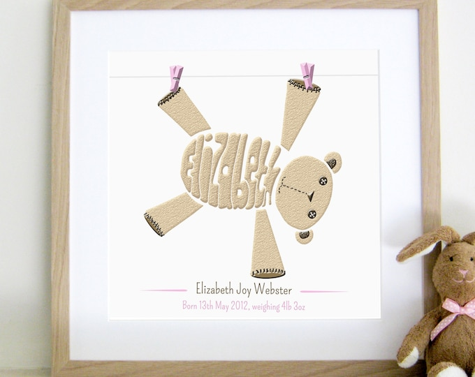 Girls Personalised Teddy Print - Birth, Christening, Baptism