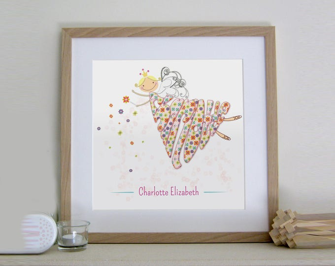 Girls Personalised Flower Fairy Print