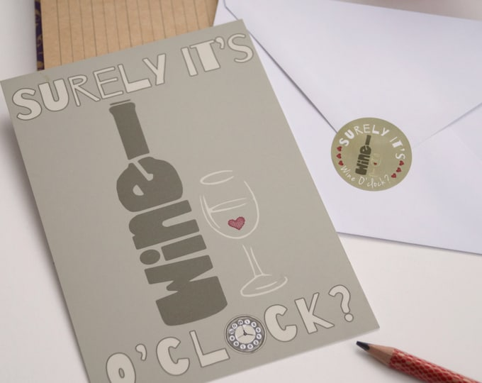 Wine O'clock Oversized Postcard With Sticker