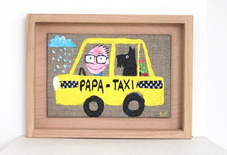 Taxi Papa Taxi handprinted original painting handprinted image 0