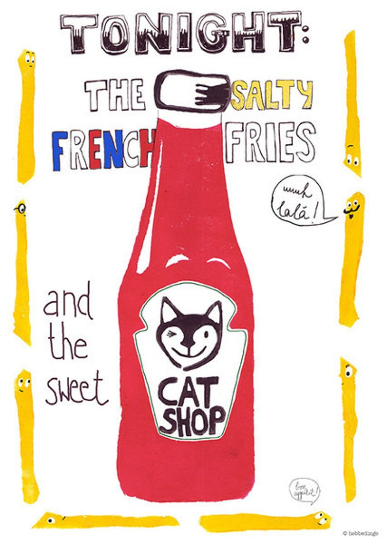 Poster Din A4 Cat shop and French fries image 0