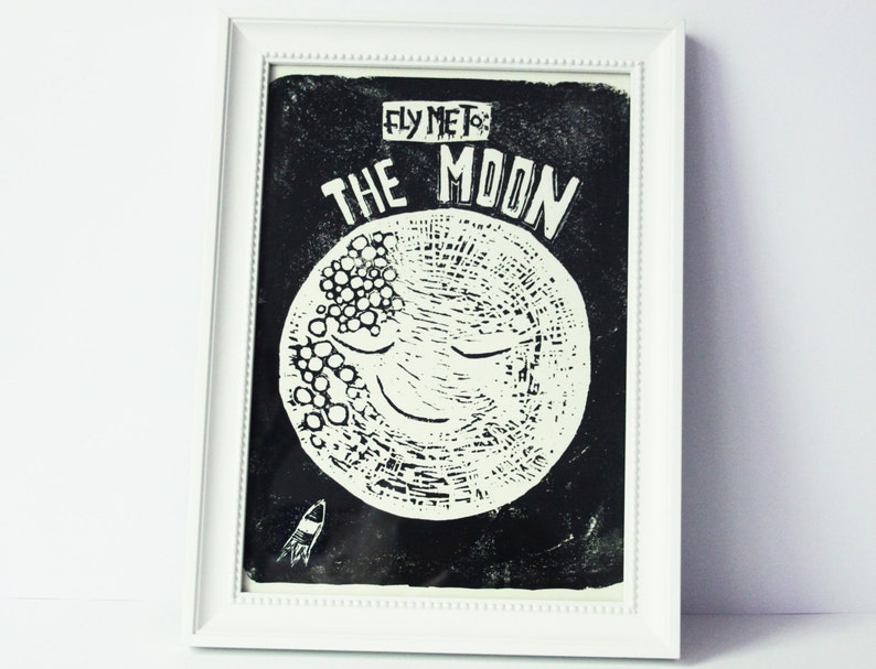 moon Sinatra linocut original print fly me to the moon space image 0