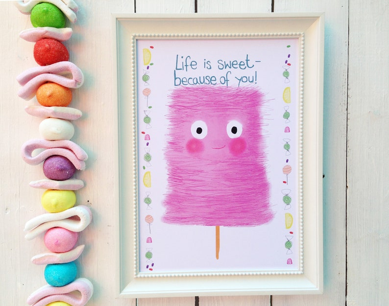 Cotton candy sweet life nursery poster DinA4 image 0
