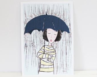 under my umbrella april showers rain drops nursery room rainy day poster