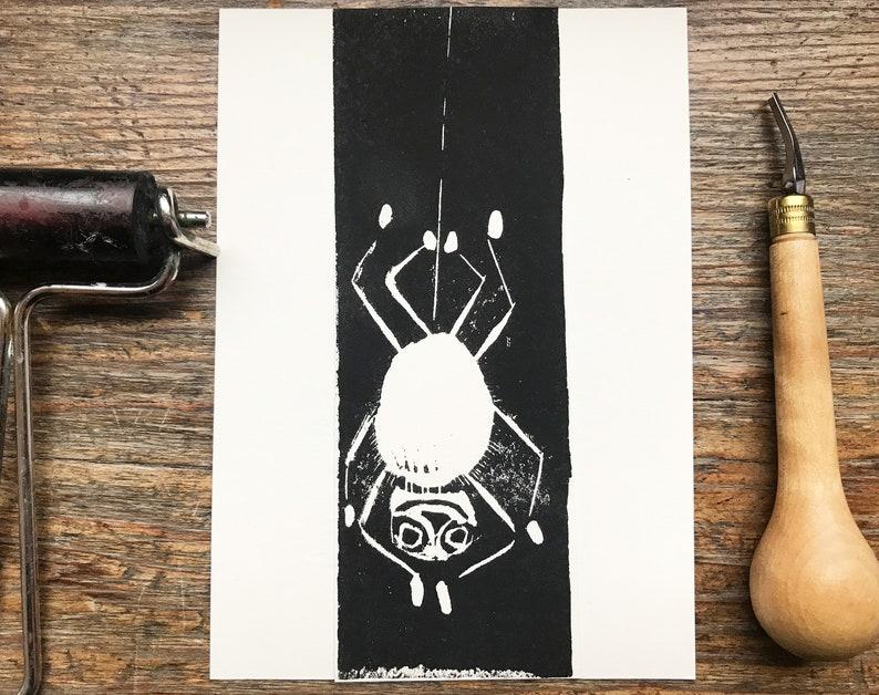 spider linocut linoprint original art affordable art folktale image 0