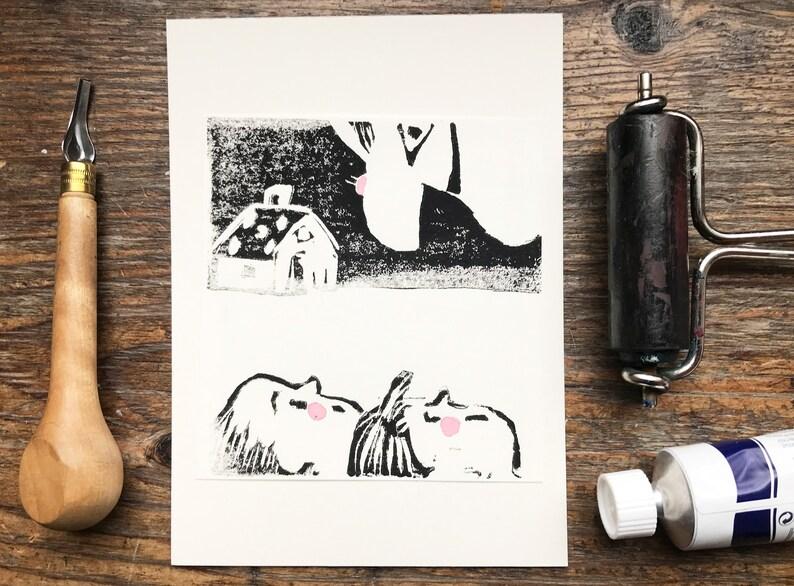 Hansel and Gretel linocut linoprint original art affordable image 0