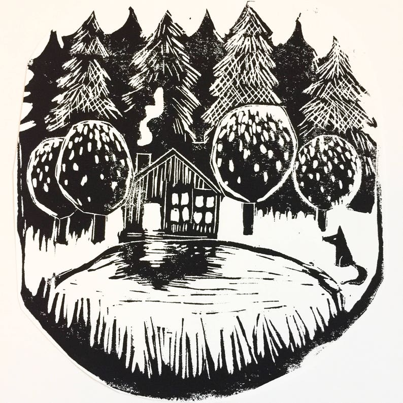 cabin in the woods by the lake linocut print original image 0