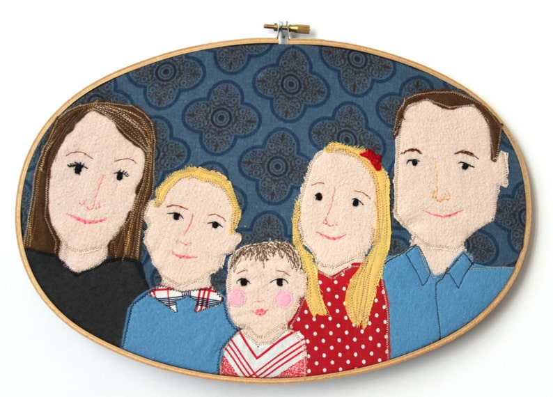 custom portrait personalized portrait in embroidery hoop image 0