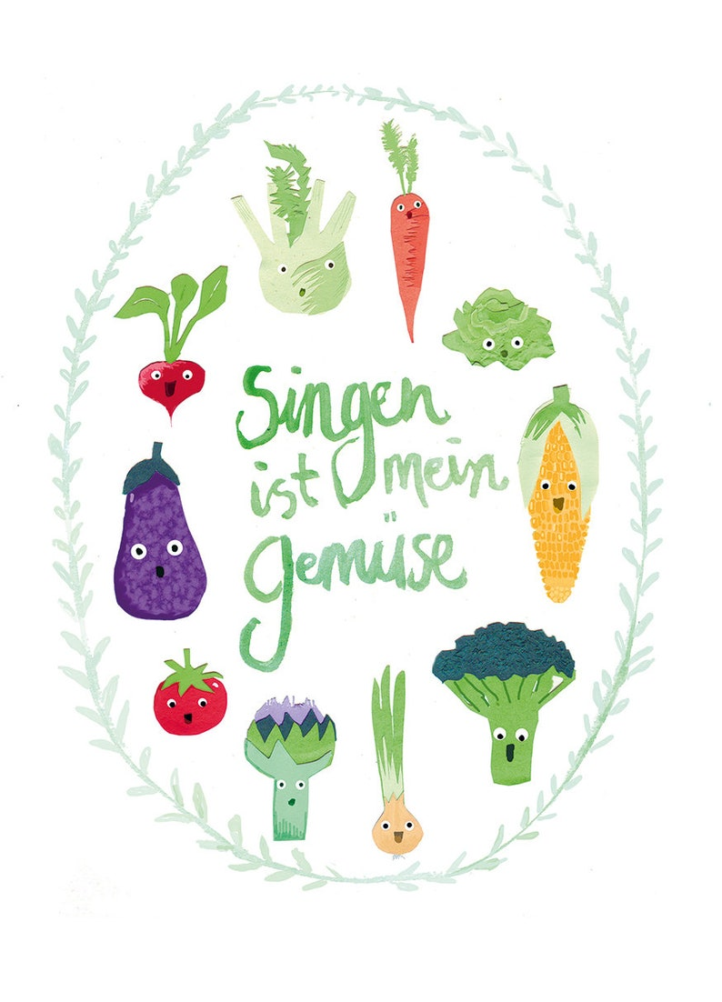 Poster Din A4 Singing is my vegetable singing choir image 0