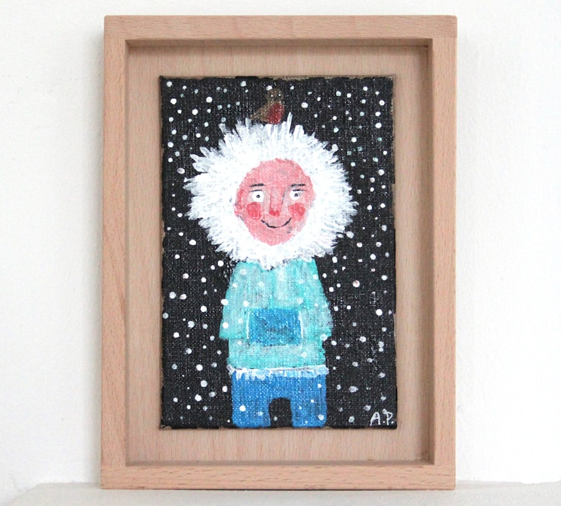 happy original painting handprinted Eskimo kids room nursery image 0