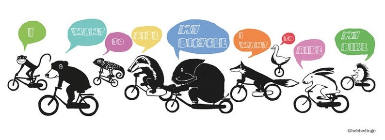 Bicle-riding animals sing Queens bicyclerace image 0