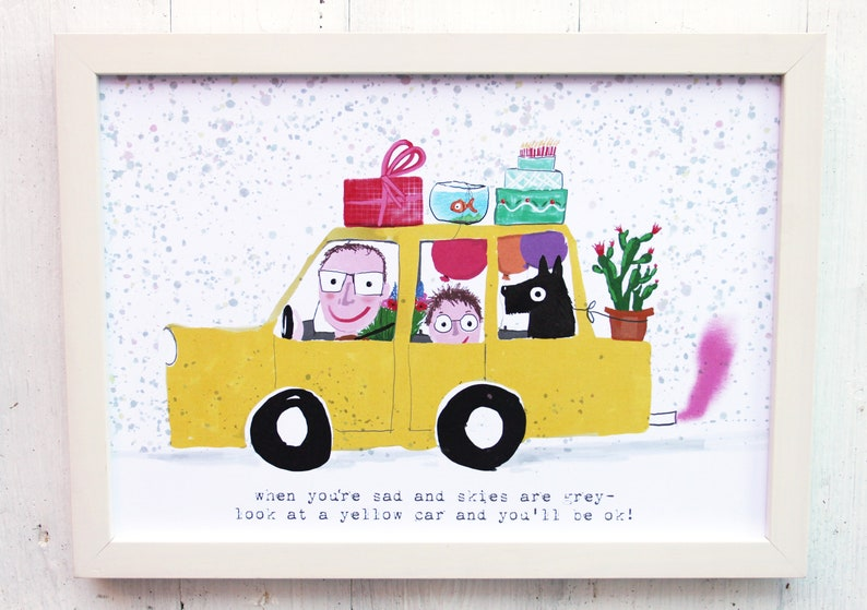 Car poster yellow cheerful colorful nursery print image 0