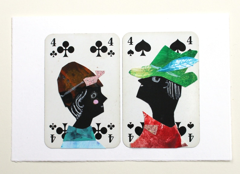 original collage art friends wedding anniversary playing cards image 0