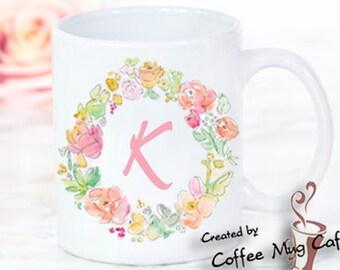 Personalized Mug, Initial Mug,  Bridesmaid Mug, bridesmaid gift, Coffee Mug, Monogram Mug, Initial Mug, Flower Mug, Custom Mug,g