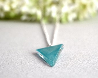 Triangle blue necklace, Ready to ship, Enamel pendant turquoise, Unusual necklace, Colorful fused glass jewelry, Gift for woman,
