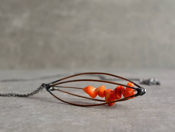 Copper Wire Necklace Kinetic Jewelry Long Bohemian Necklace Etsy