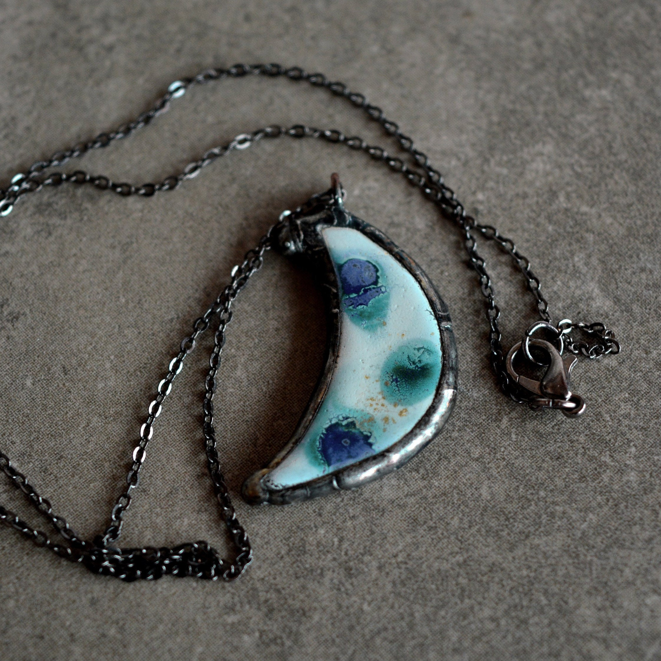 Unique gifts for women Turquoise full moon necklace Handpainted with enamels Stained glass jewelry