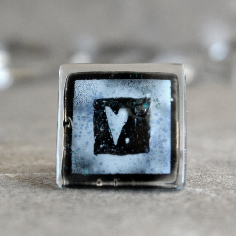 Large square heart ring Eco friendly Valentines gift for women Black and white hand painted enamel jewelry Recycled glass