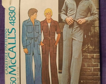 RARE 70's Men's JUMPSUIT Pattern McCall's 4830 - Size 46 - Used