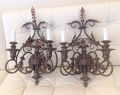 Pair of LARGE Ornate Sconces- Bronze Brown Colored with Gold Accents