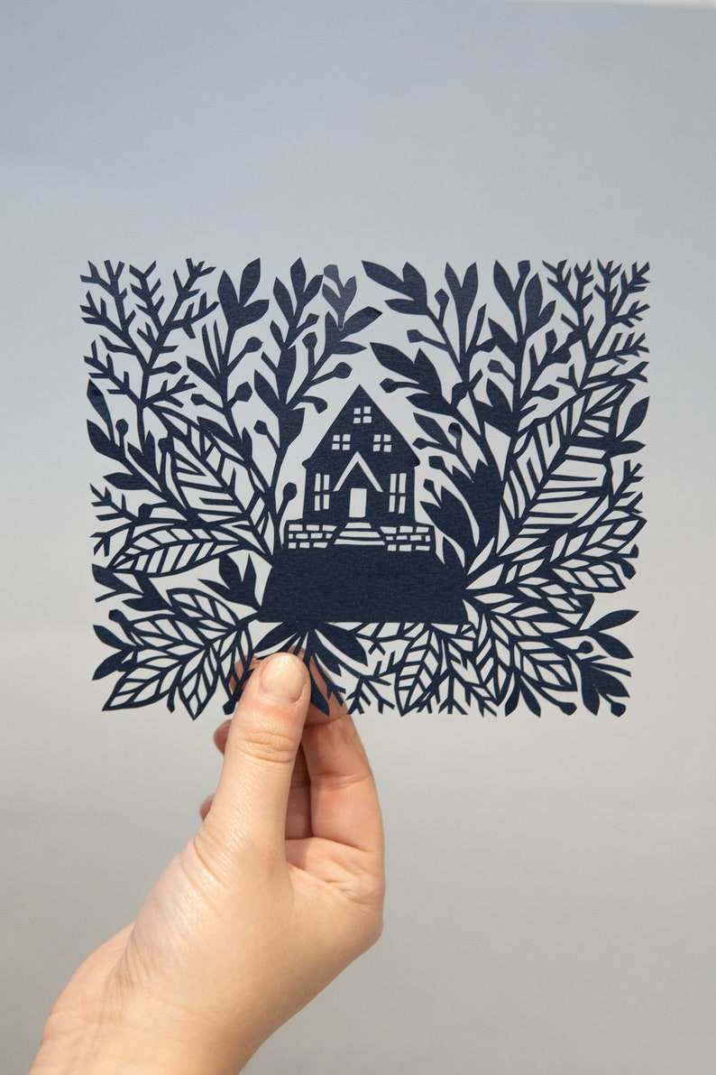 House in the Forest Paper cut / Hand Cut / Paper Cut / Paper image 0