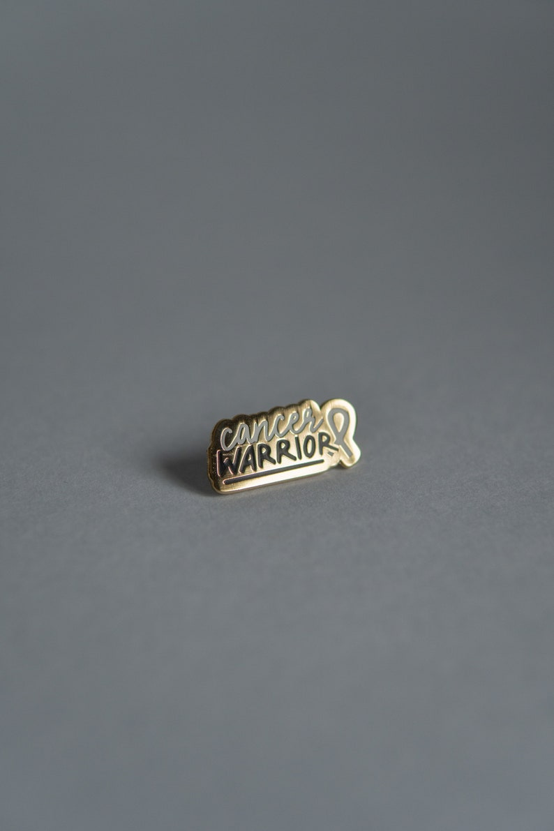 Cancer Warrior Gold Hard Enamel Pin  Cancer Pin  Warrior Pin image 0