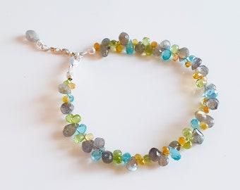 Gemstone bracelet made of apatite, labradorite, peridot, sapphire & 925 sterling silver
