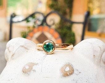 "Gold ring ""Balance"" in 585 Gold & Teal Blue Green Tourmaline Tourmaline Ring"