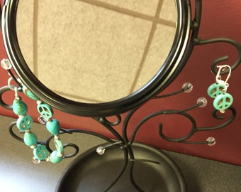 Turquoise Conical and Peace Sign Beaded Bracelet and Earrings Set