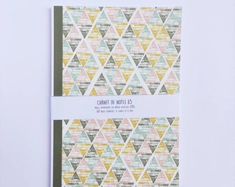 Notebook A5 - white pages, lines and polka dots